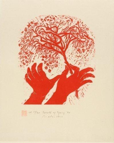 Naoko Matsubara (b. 1937), Breath of Spring, 1994, woodcut. © Naoko Matsubara