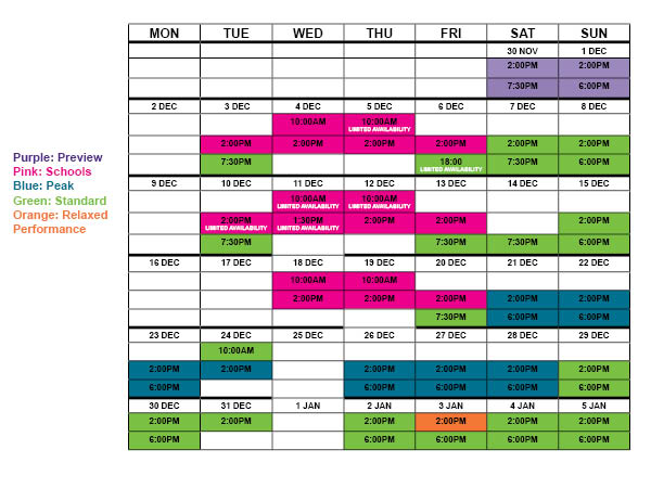 Performance Schedule for Creation Theatre's The Snow Queen at North Wall Arts Centre