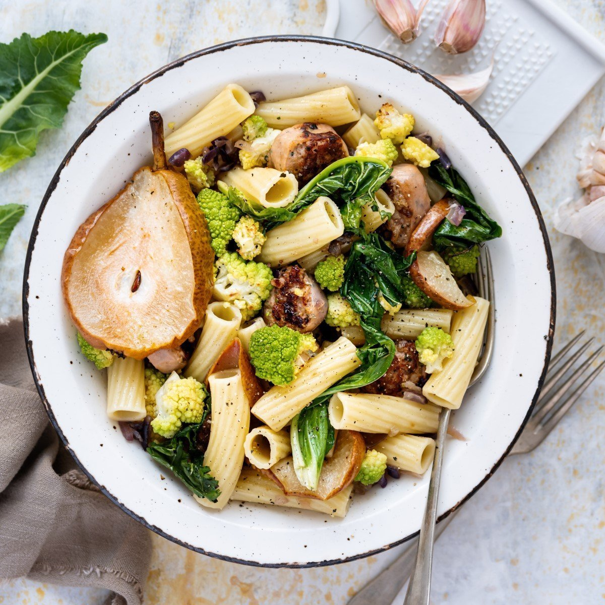 Fennel Sausage Pasta with Roasted Pear and Romanesco Recipe