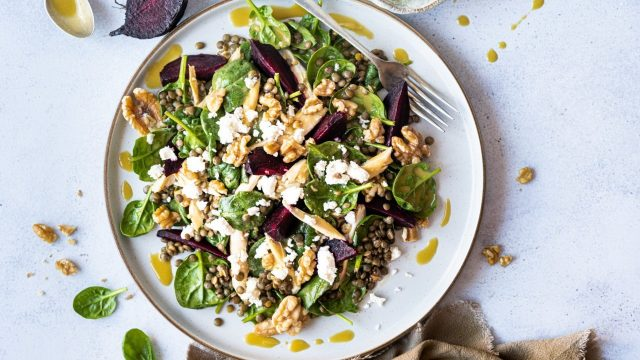 Roasted Beetroot & Lentil Salad with Lemon & Olive Oil Dressing Recipe