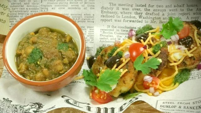 Aloo Tikki (Spiced Potato Cakes) with Chickpea Curry Recipe