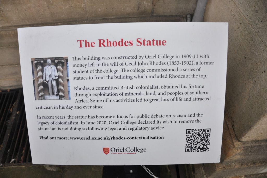 The plaque at Oriel College calls Cecil Rhodes a 'committed colonialist'