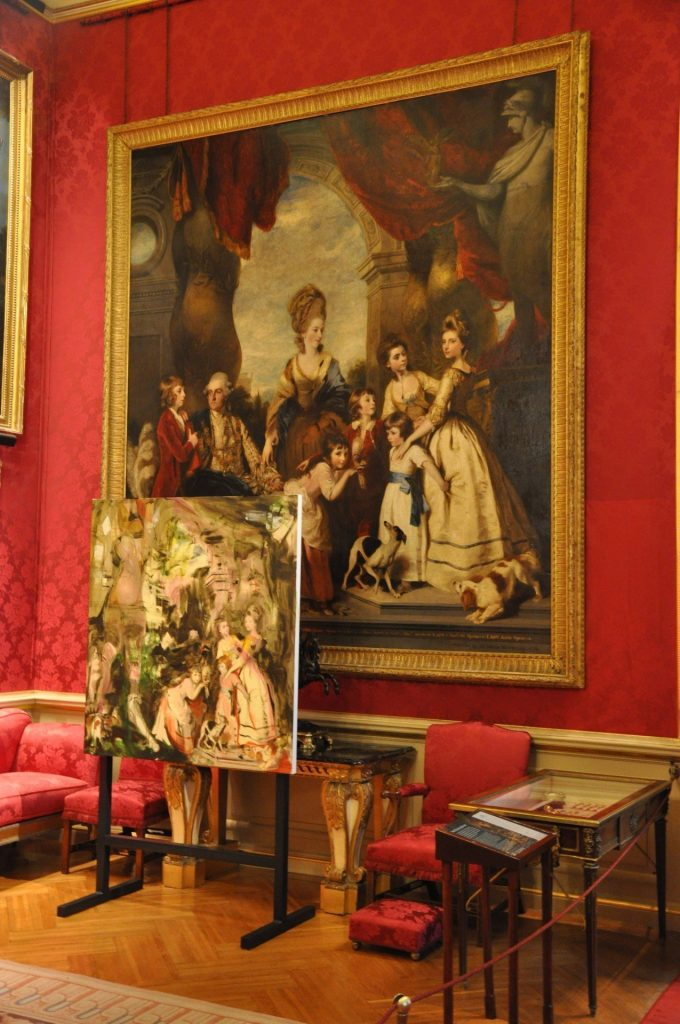 Cecily Brown, The Children of the Fourth Duke, 2019, oil on UV-curable pigment on linen 137 x 129cm on display in the Red Drawing Room next to Sir Joshua Reynolds, The 4th Duke of Malborough and his Family, 1777-78, oil on canvas, 317.5 x 287cm.