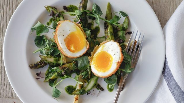Chargrilled Asparagus with Crispy Hen's Eggs & Herb Dressing Recipe