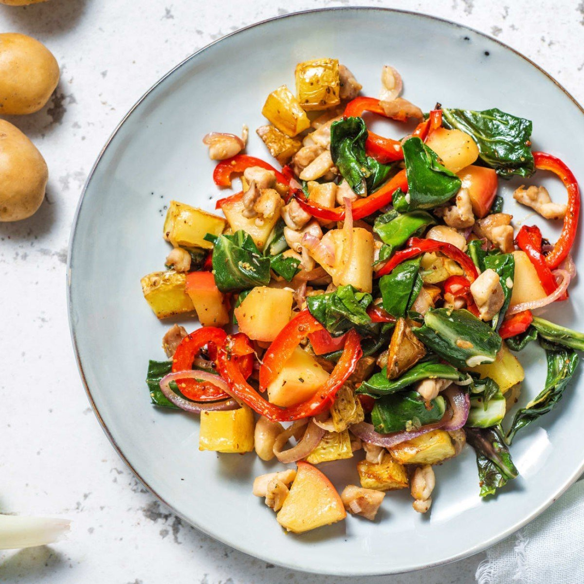 Chicken and Potato Hash with Spring Greens and Apple Recipe