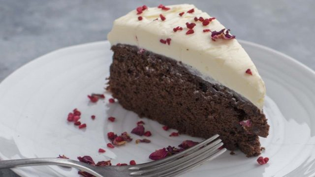 Chocolate and Raspberry Cake with a Cream Cheese Mascarpone Topping Recipe