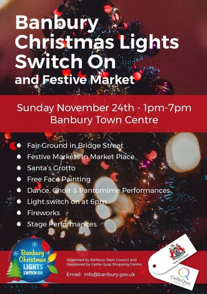 Poster for Banbury Christmas Lights Switch On & Festive Market 2019