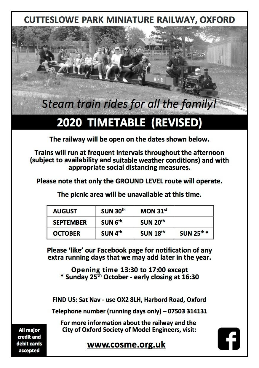 Cutteslowe Park Miniature Railway revised 2020 opening timetable