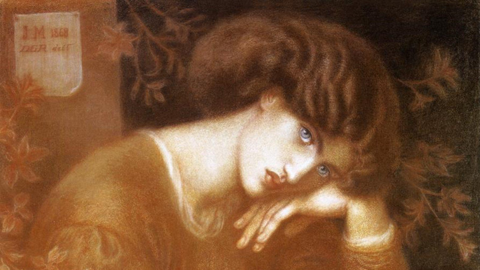 Pre-Raphaelite Portraiture Online Workshop. Image shows Dante Gabriel Rossetti, Reverie, 1868, Chalk Drawing, 84 x 71cm (cropped)