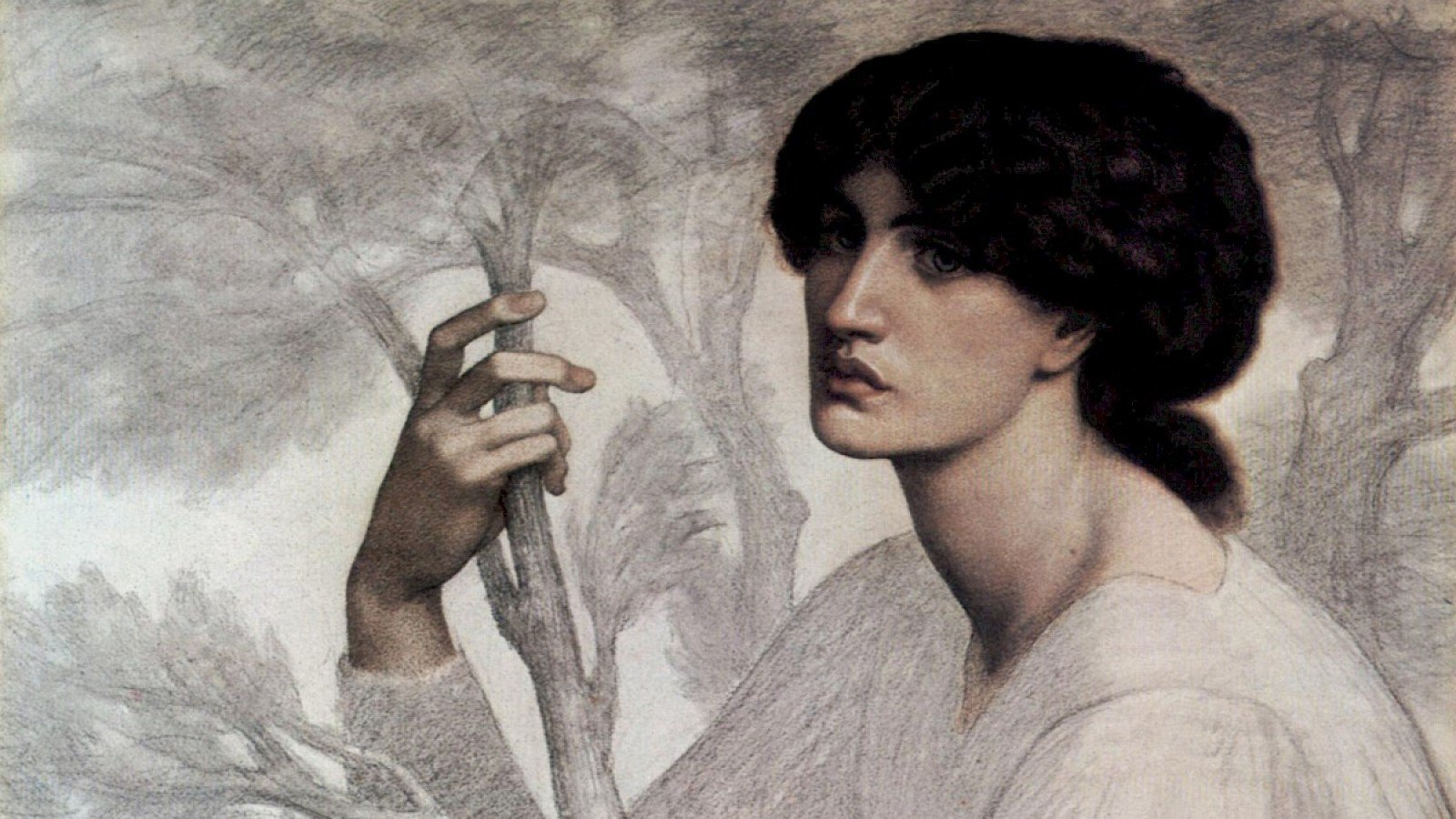 The Pre-Raphaelites - Drawings & Watercolours at The Ashmolean. Image: Dante Gabriel Rossetti, The Day Dream (Study), 1878, Chalk Drawing, 104.8 x 76.8cm (cropped)
