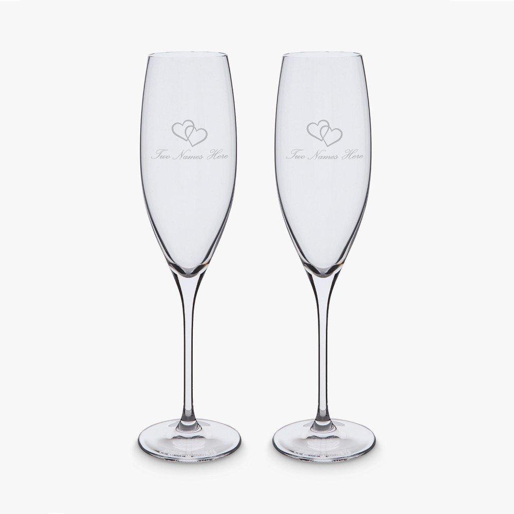Dartington Crystal Personalised Love Heart Flutes, Set of 2