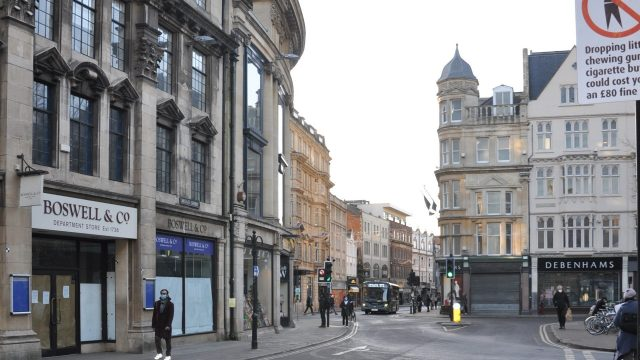 The Debenhams Store in Oxford city centre, across from Boswell store which closed earlier in 2020