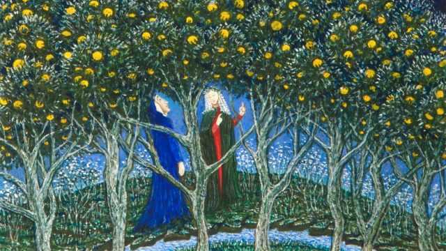 Free exhibition at Ashmolean to celebrate the 700th anniversary of Dante's death. Image: Detail from Dante and Beatrice in the Earthly Paradise, Monika Beisner, 2002 © the artist