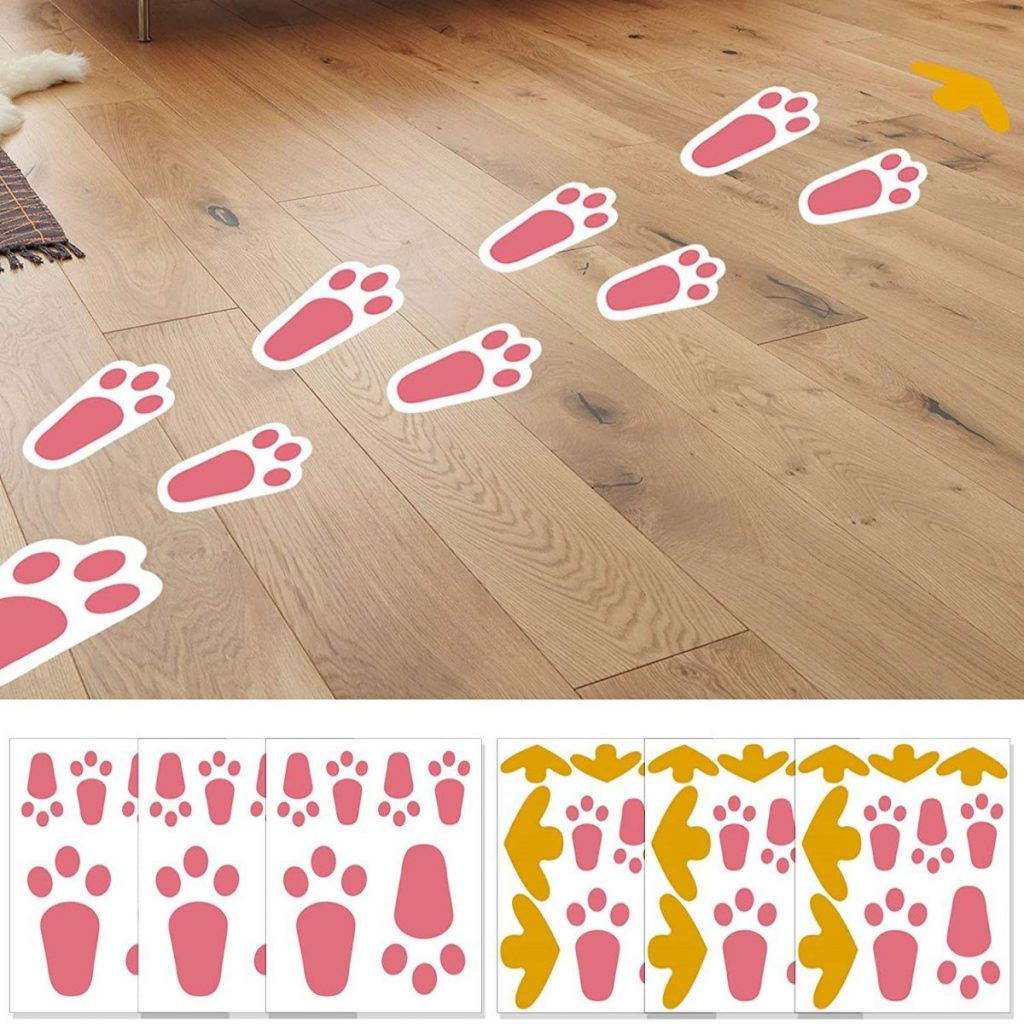 Easter Bunny Footprint and Arrow Sign Stickers