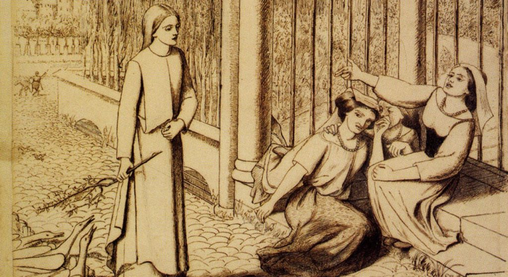 Elizabeth Siddal and English Literature Online Talk Image: Elizabeth Siddal, Pippa Passes, 1854, Pen and ink on paper, 23.4 x 29.8cm (cropped)