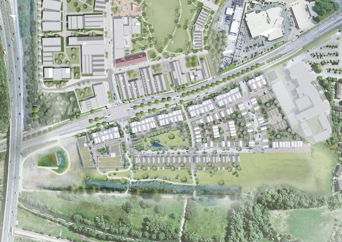 1. Aerial showing TWO & Hill Group's emerging plans for new homes, public park and access roads at Oxford North