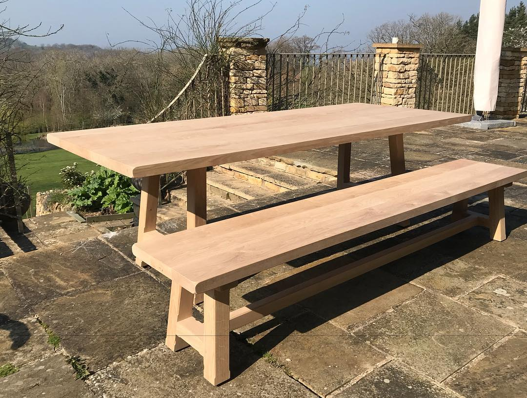 Farmhouse Table and Bench - Oxford Planters