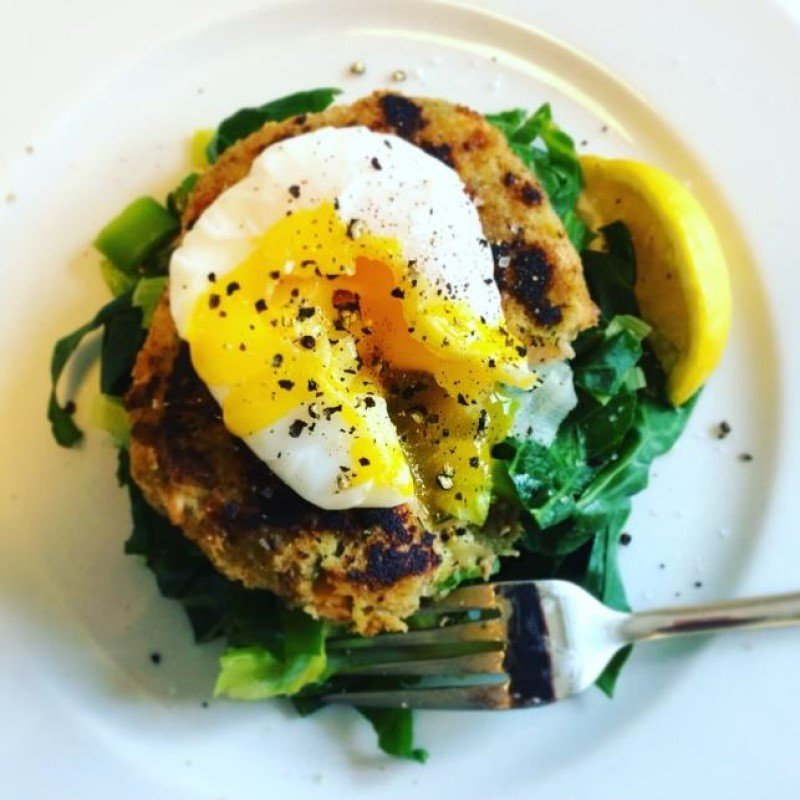 Fragrant Fishcake with Spring Greens & Poached Egg Recipe