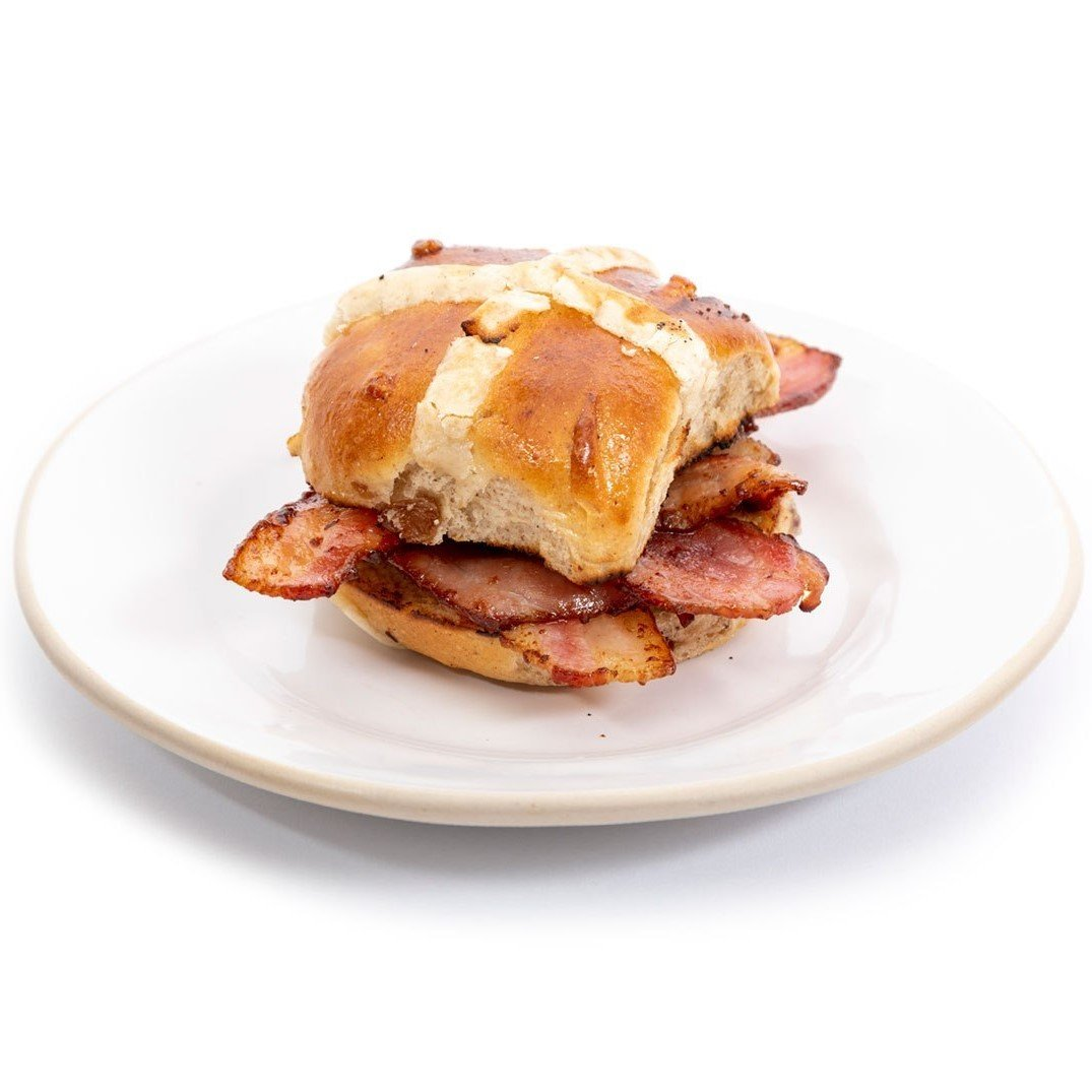 GAIL's Hot Cross Buns served with bacon