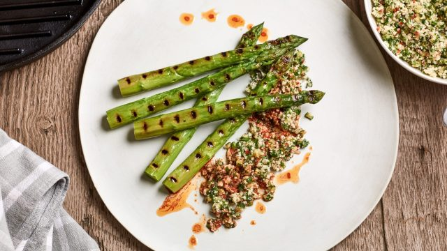 Grilled Asparagus with Vegetable Crumble Recipe