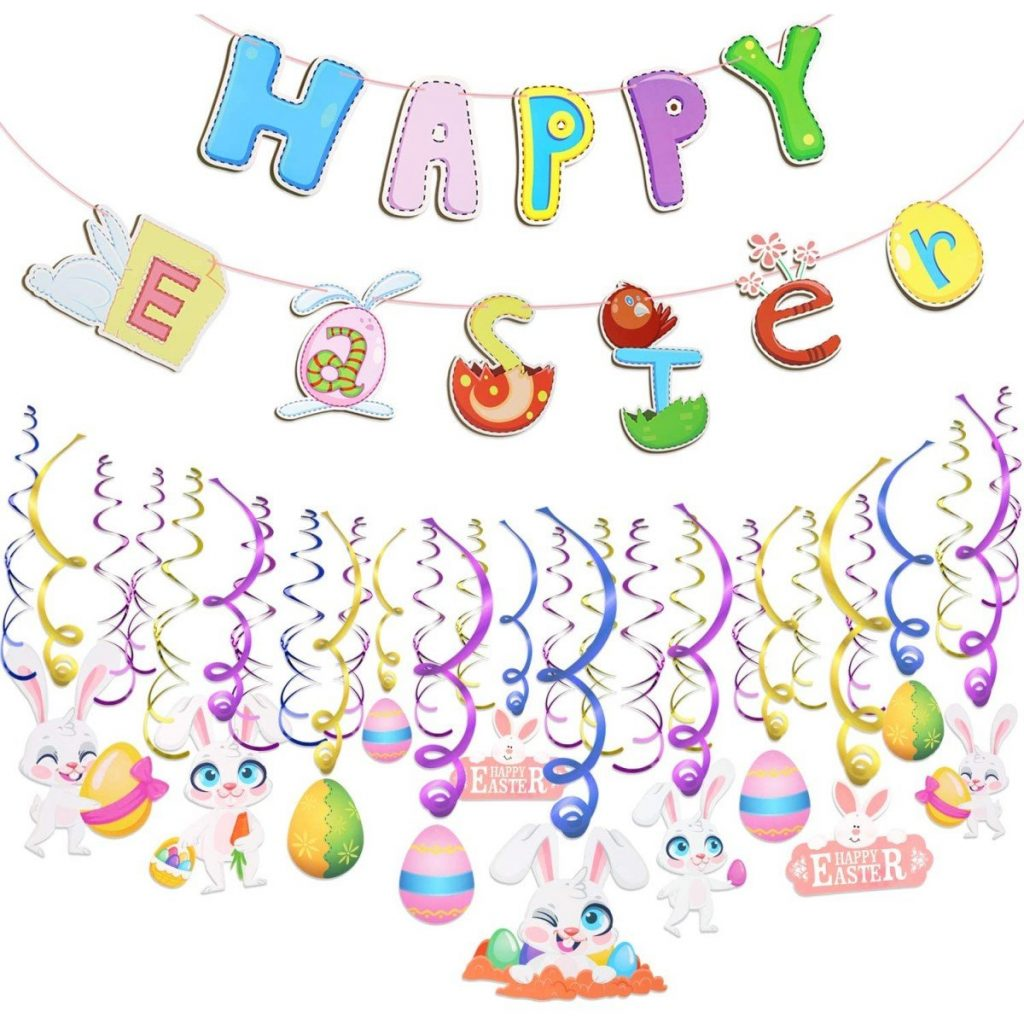 Happy Easter Banner and Swirl Decorations