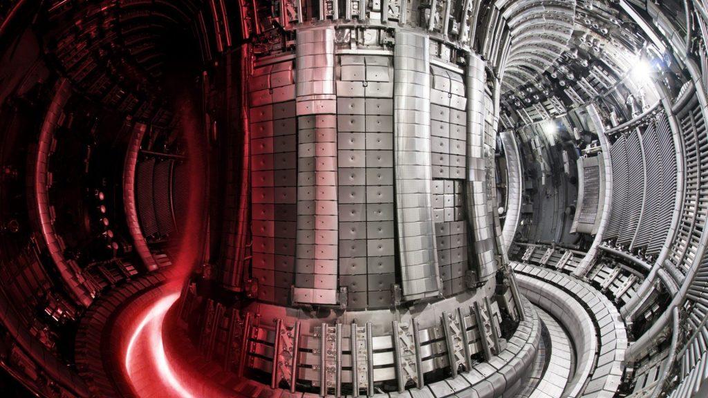 Interior of JET with a superimposed plasma