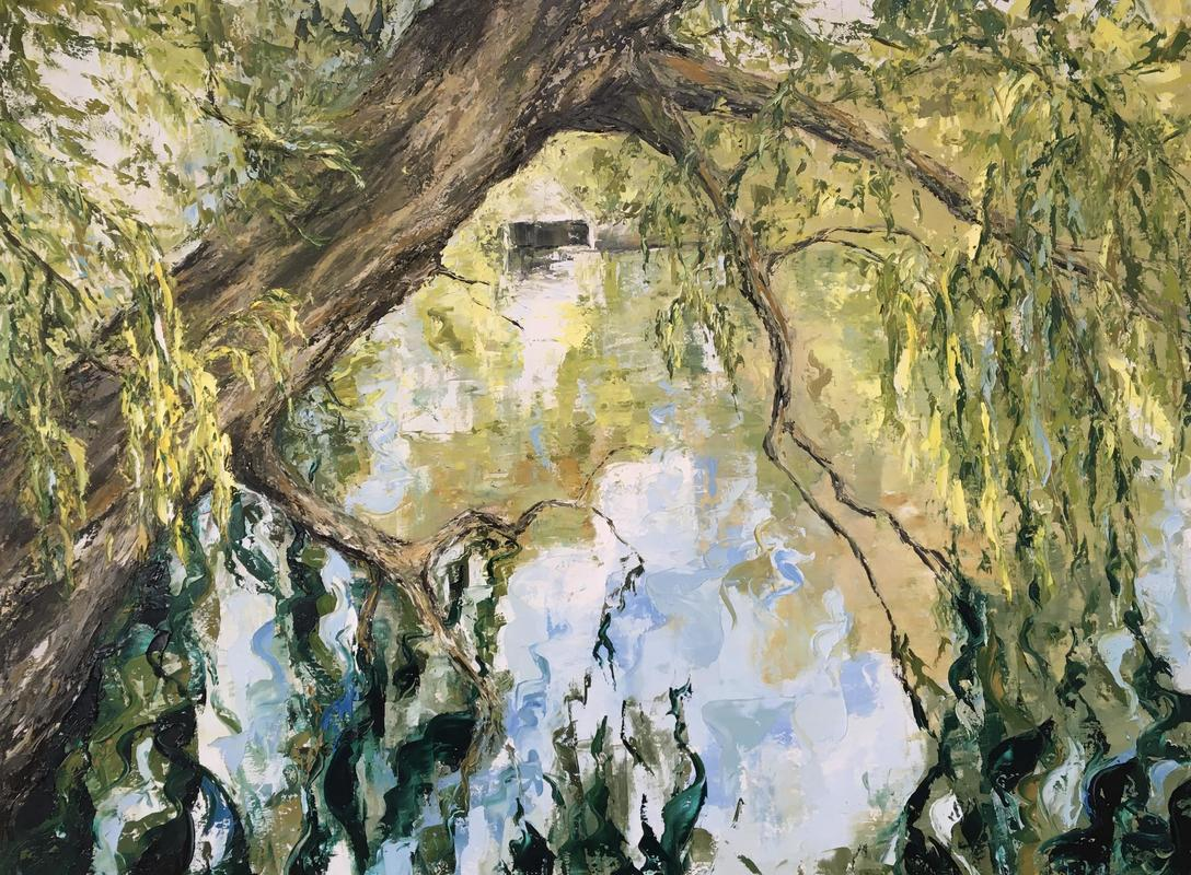 Oxfordshire Artweeks Festival 2021 - Gallery Image 03 - Janine Philips, Reflections on the River Thames, 101 x 76cm, oil on canvas