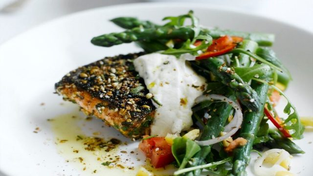 Moroccan crusted salmon with an asparagus, rocket and preserved lemon salad