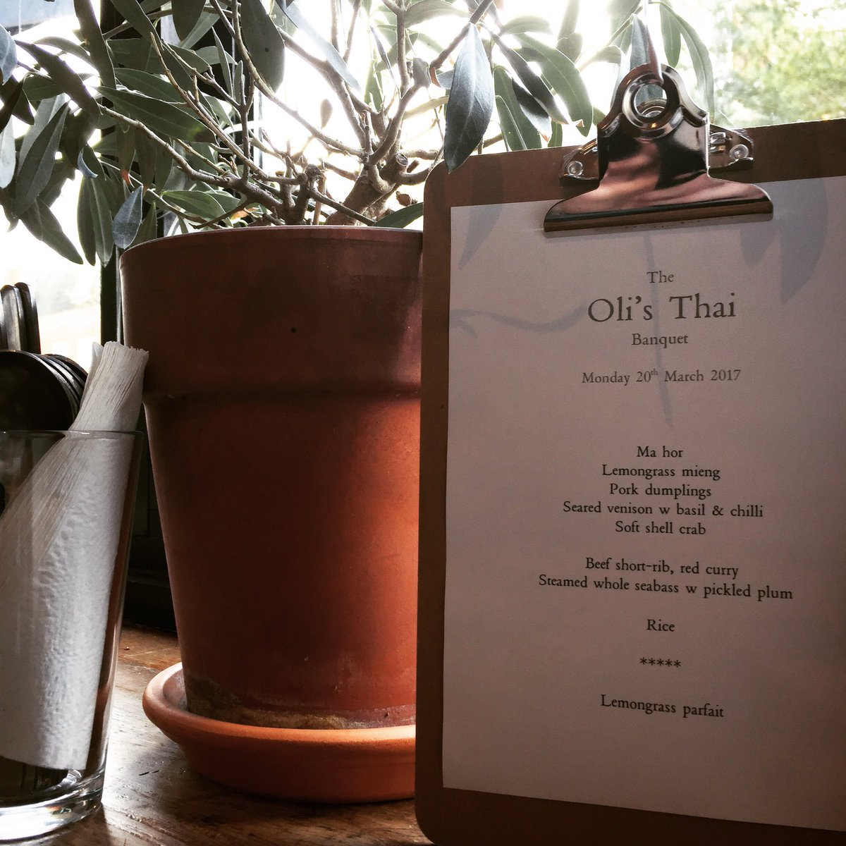 Oli's Thai Restaurant, Magdalen Road, Oxford - Buffet Menu