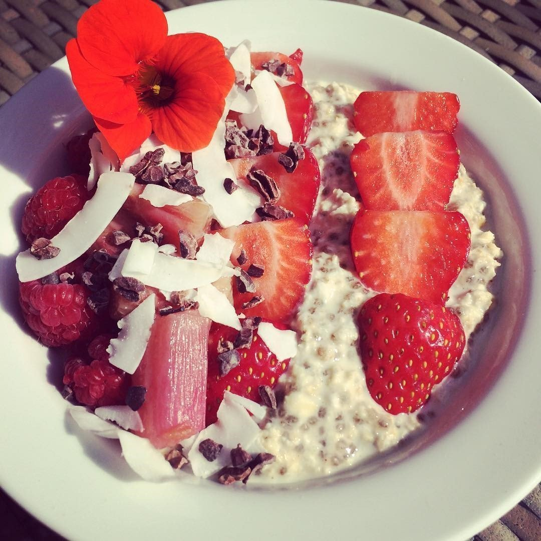 Overnight Soaked Oats with Seasonal Berries and Rhubarb Recipe