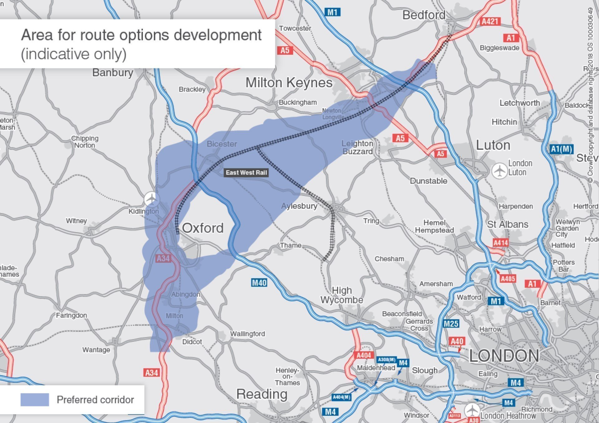 The Oxford to Cambridge Expressway - Area for route development