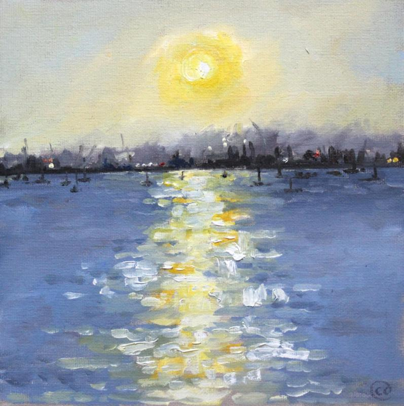 Oxfordshire Artweeks Christmas Season Virtual Art Trail 2020. Image: Charlie Davies, Sunset Over Poole Harbour, Painting
