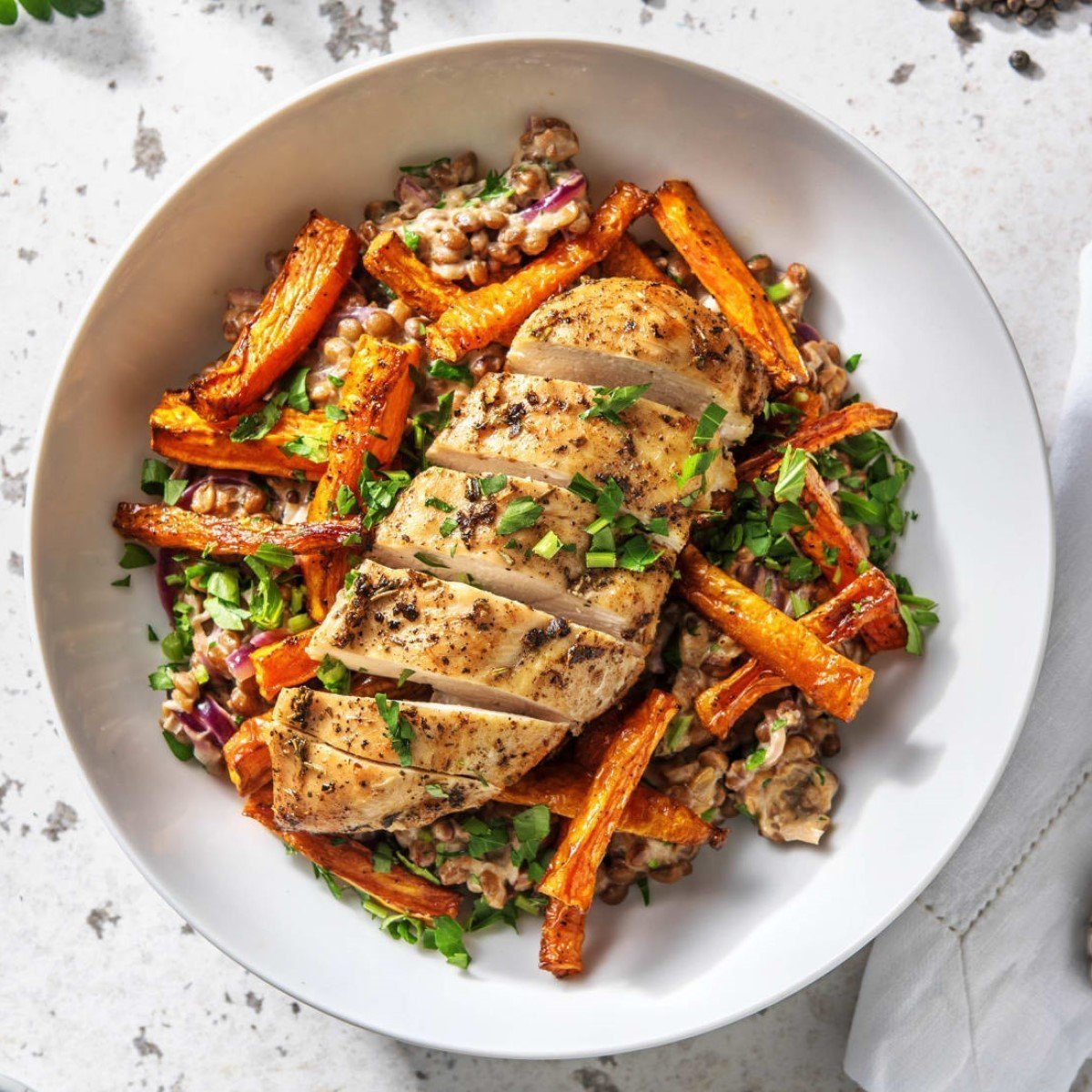 Parisienne Spiced Chicken with Mustard Lentils and Roasted Carrots Recipe