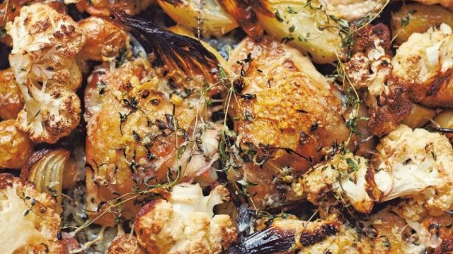 Parmesan Roast Chicken with Cauliflower and Thyme Recipe