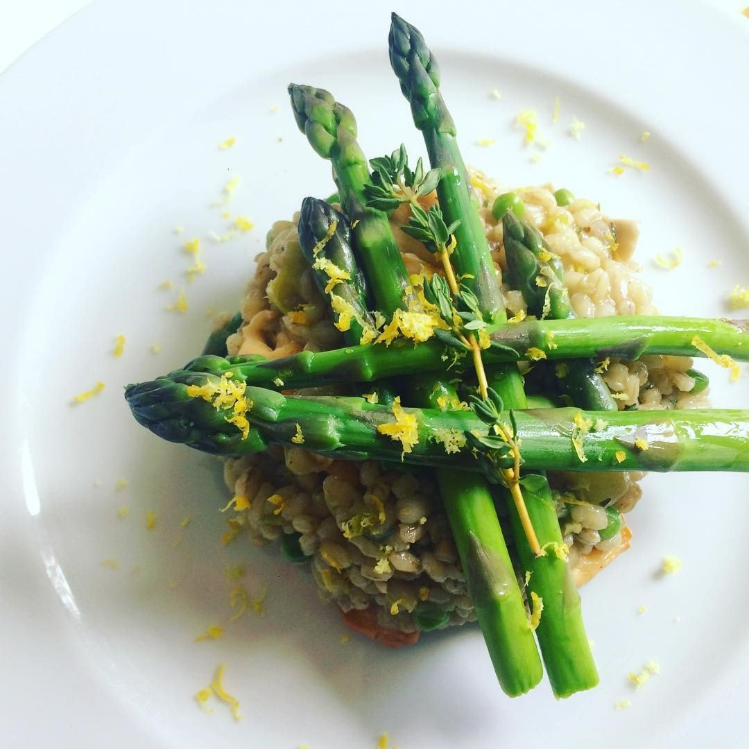 Pearl Barley Spring Risotto with Asparagus Tips Recipe
