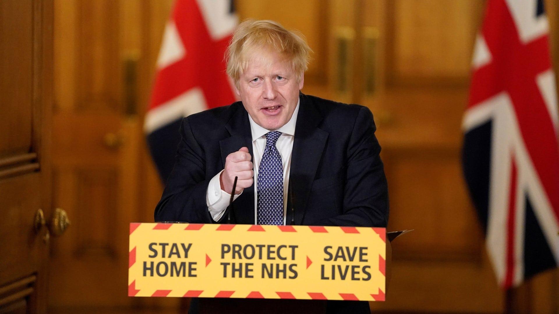 PM Boris Johnson holding a press conference at Downing Street