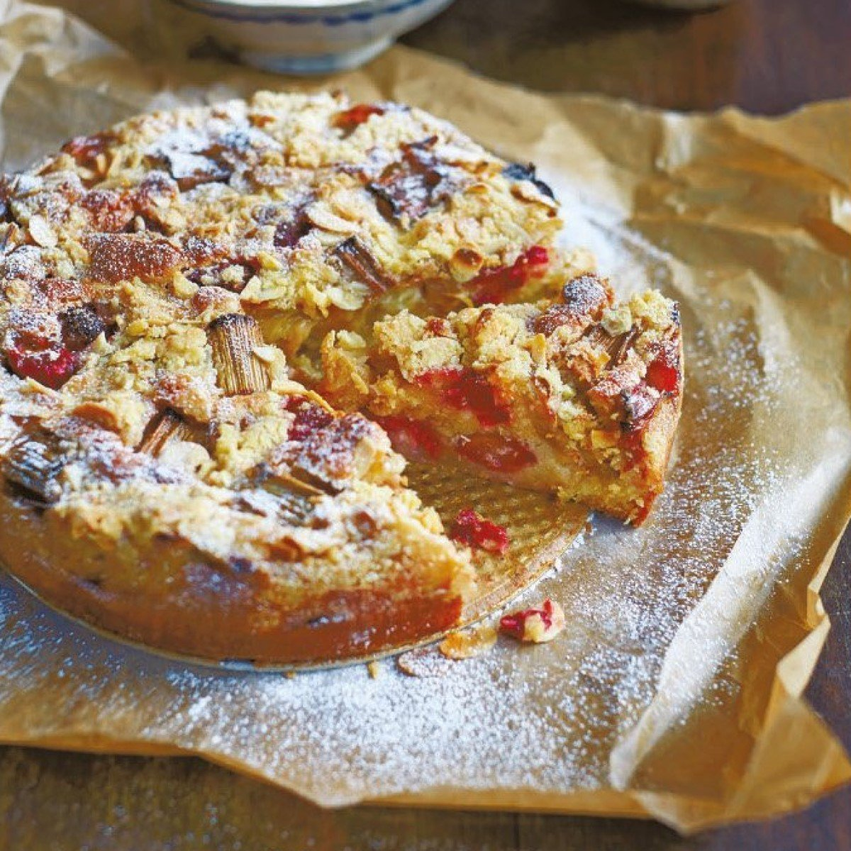 Rhubarb and Raspberry Crumble Cake Recipe