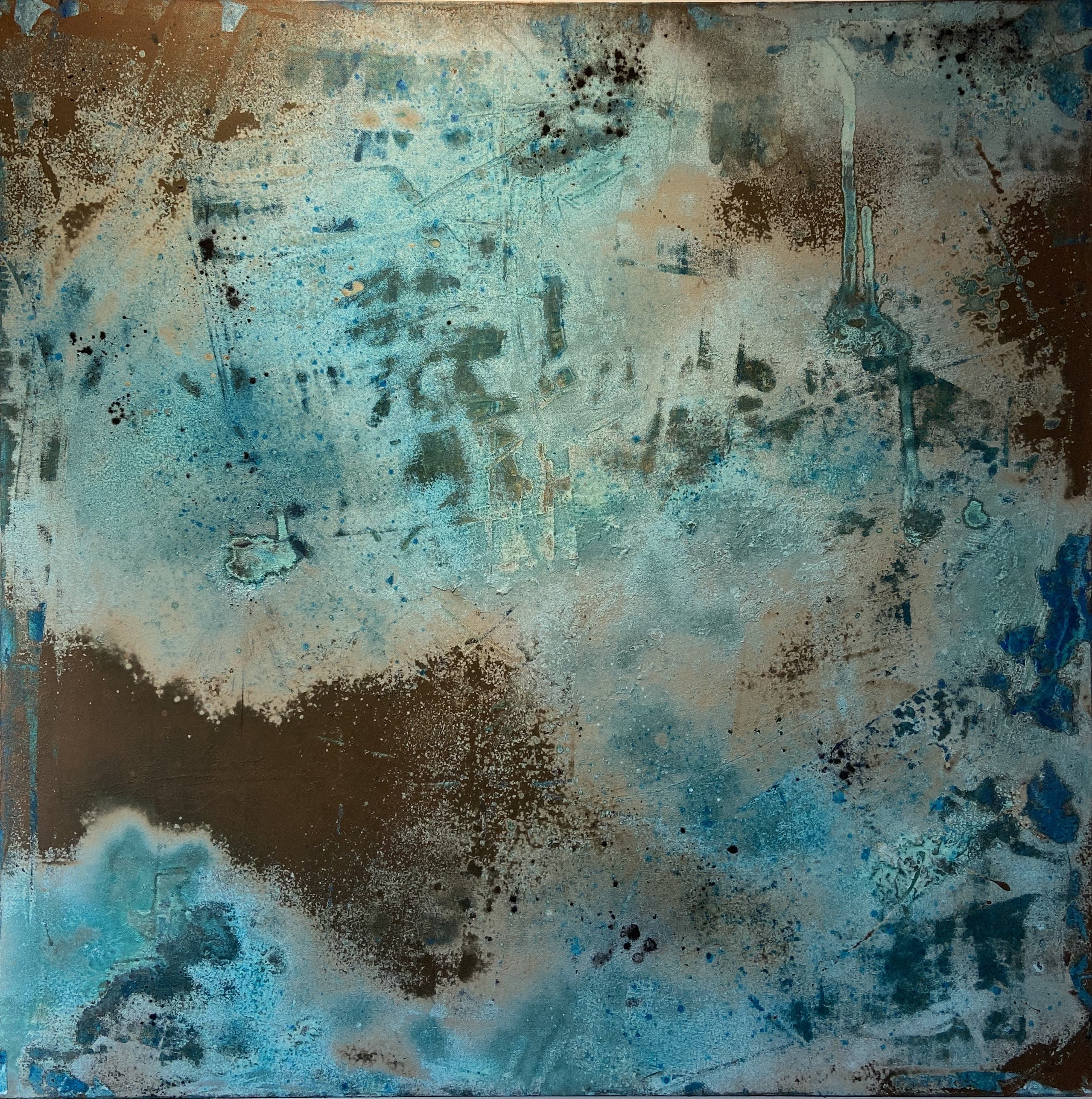 Rosannagh Scarlet Esson - Alchemy - Copper I, 2020, Copper paint, soot, salt and rainwater on canvas,100 x 100 cm