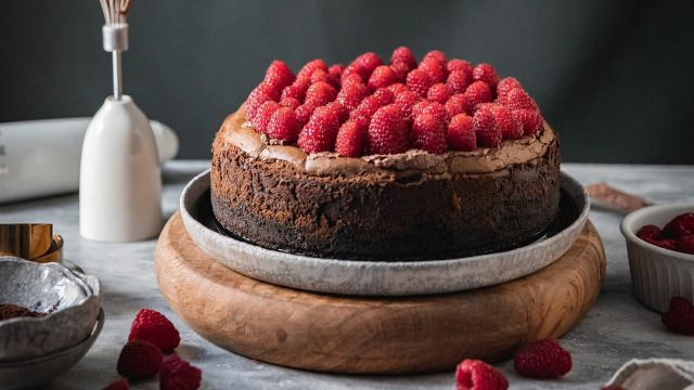 Salted Chocolate Ganache and Raspberry Cheesecake Recipe