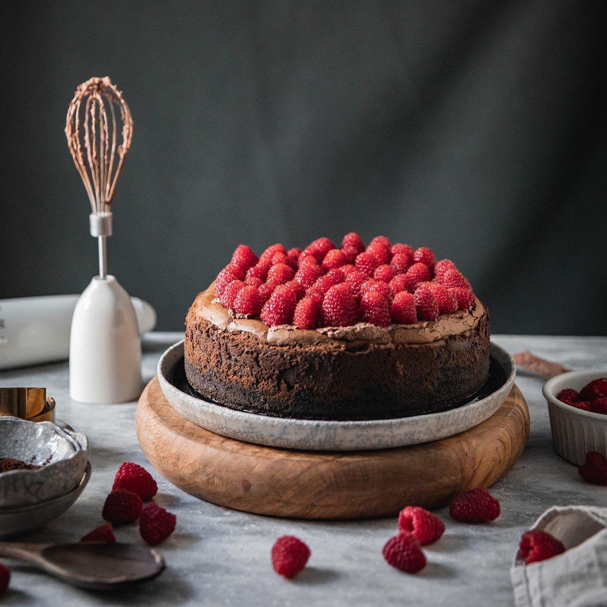 Salted Chocolate Ganache and Raspberry Cheesecake Recipe