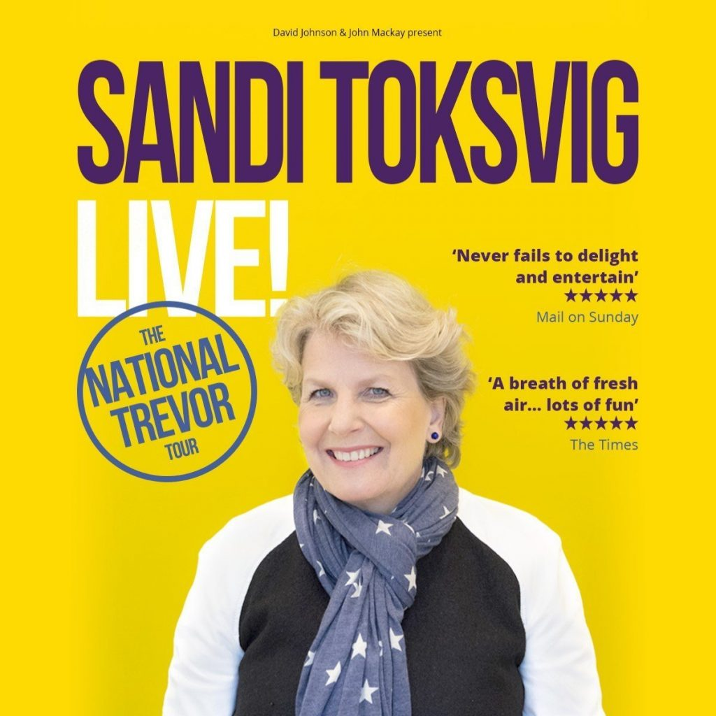 Poster for Sandi Toksvig Live! National Trevor at New Theatre Oxford