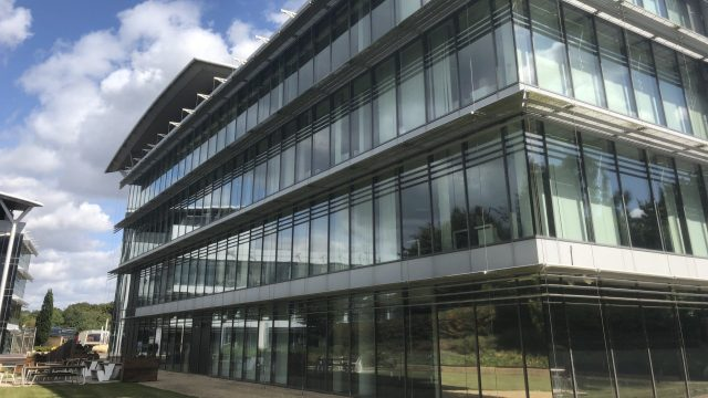 £1bn in funding shows strength of Science & Technology in oxfordshire. Image shows Sherard Building on Oxford Science Park.