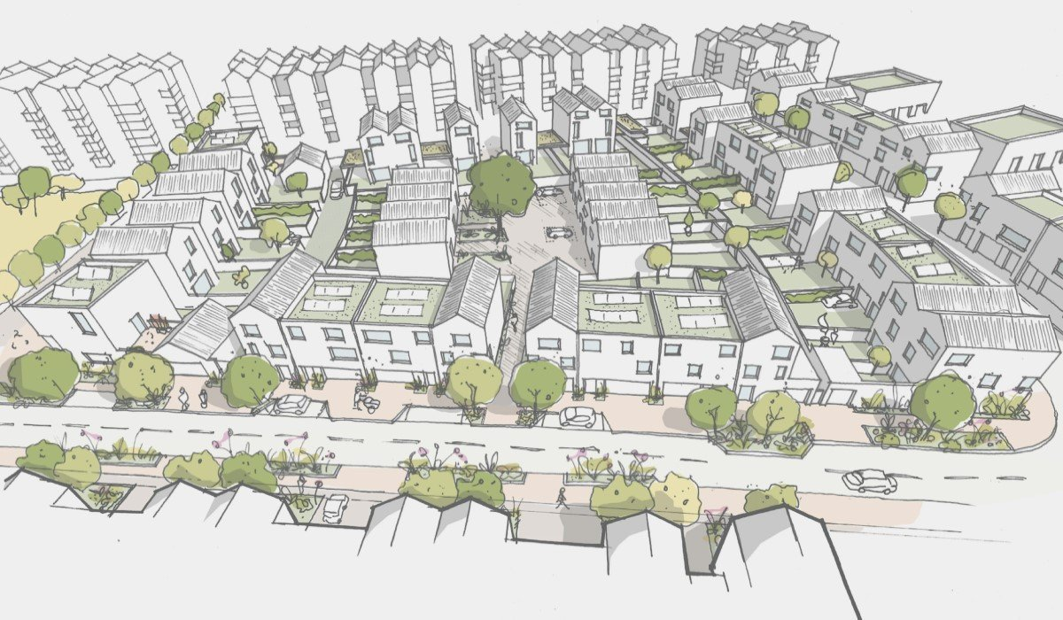 3. Sketch of new homes at Oxford North's Canalside