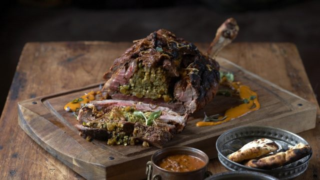 Slow-braised Leg of Lamb with Montgomery's cheddar, Dried Nuts & Fruits Recipe