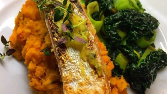 Lightly smoked Salmon with Lemon & Thyme, Sweet Potato & Carrot with Rosemary & Garlic Mash, and Truffle infused Seasonal Greens