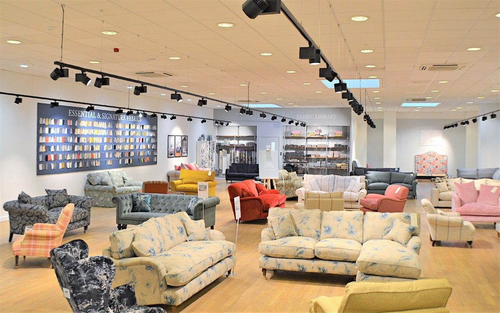 Sofas & Stuff, Henley-on-Thames. The showroom showcases a large selection of the brand's bespoke sofas and chairs.