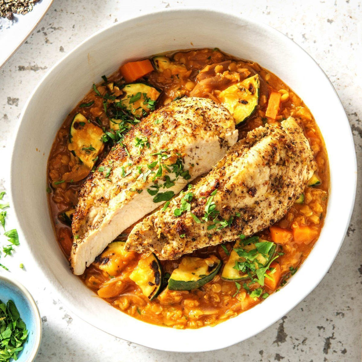 Spicy Grilled Chicken with Lentils Recipe