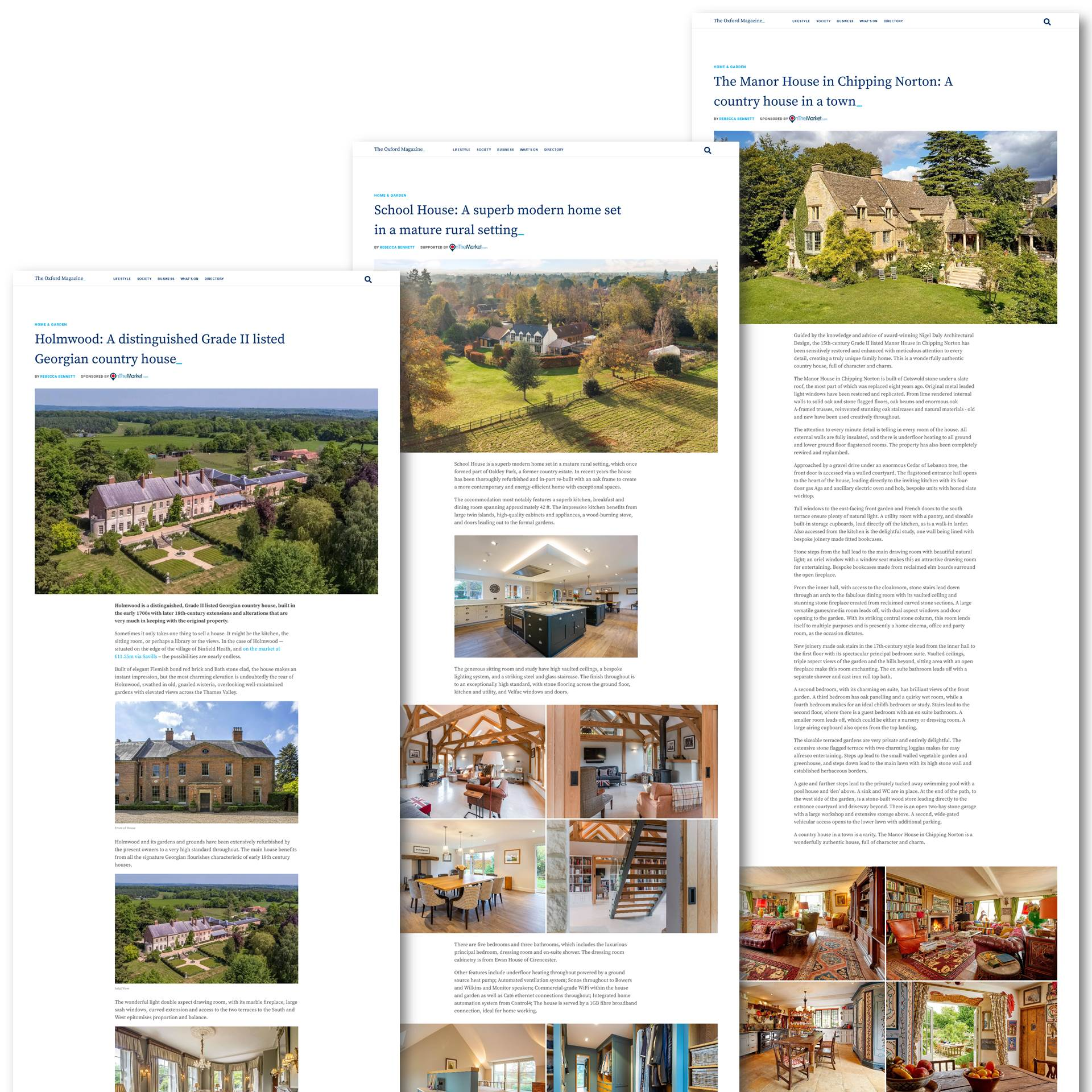 Sponsored verticals on The Oxford Magazine website. Align your brand with your local community.