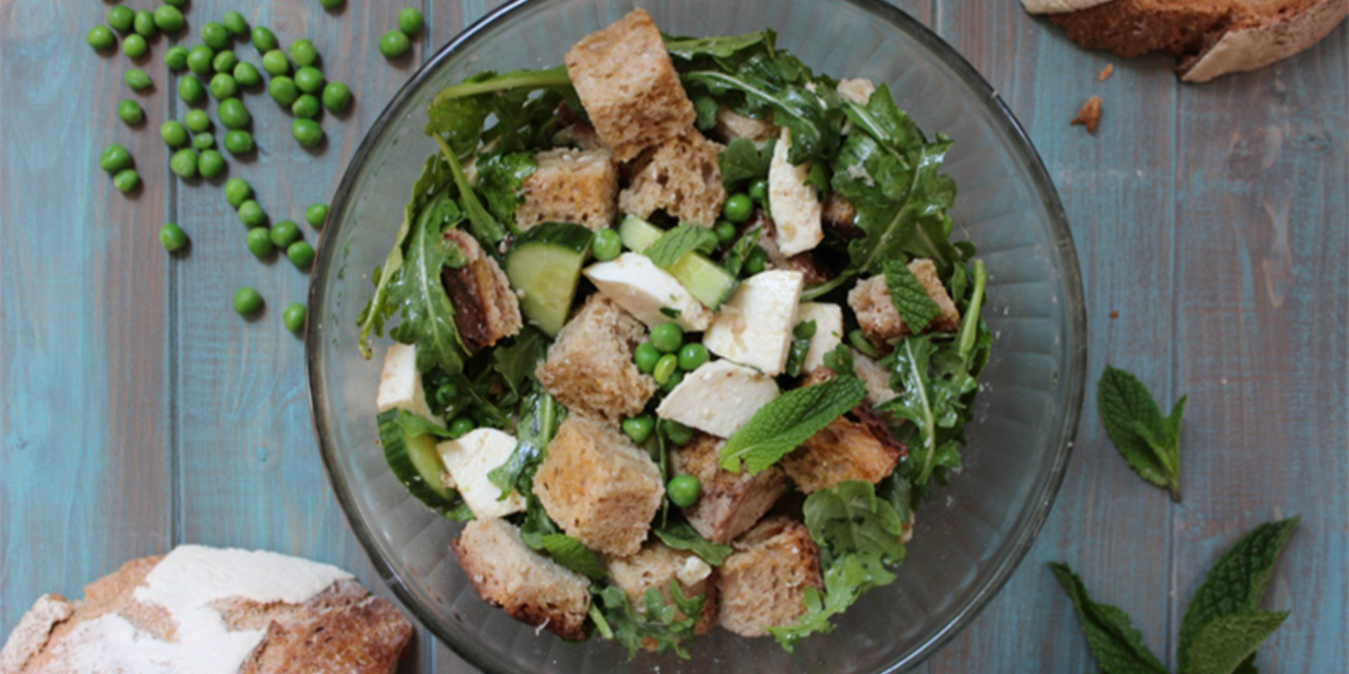 Spring Pea Panzanella Salad Le Pain Quotidien Cookbook by Alain Coumont