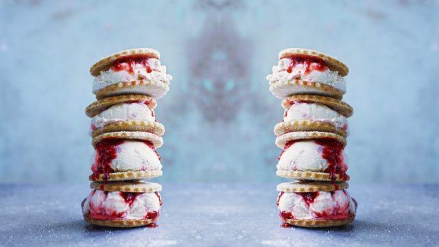 Strawberry and Vanilla Buttermilk Ice Cream Sandwiches Recipe